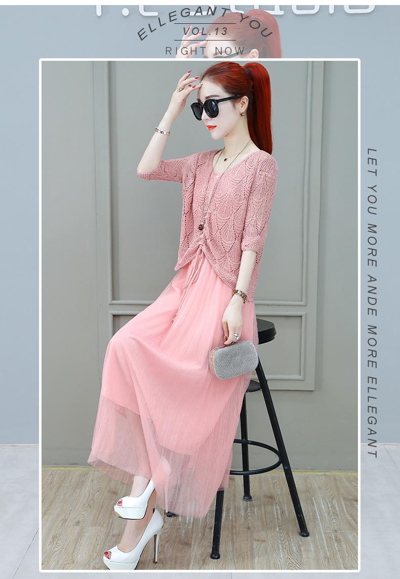 Women Suits Casual Clothing Sets Crop Top Fold Tulle dress Blouse 2 Piece Dress Sets Summer Dress Suit Twin Sets Plus Size 9