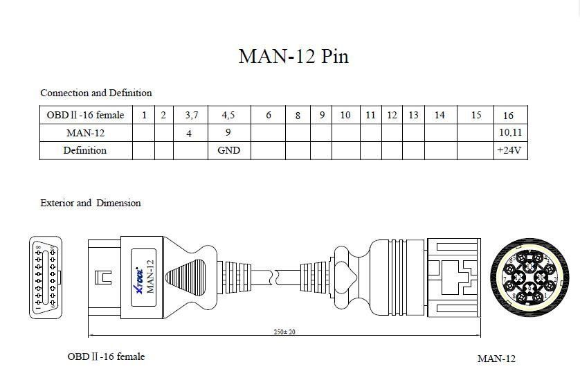 MAN 12pin to 16pin OBD2 Cable