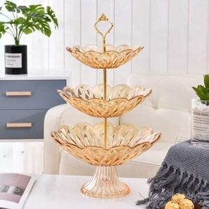 欧式多层客厅水果盘创意家用茶几糖果盘时尚桌面干果零食点心盘子