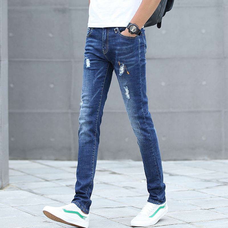 2020 spring hole jeans men's spring and autumn Tide brand slim young pants Men Korean version of the trend