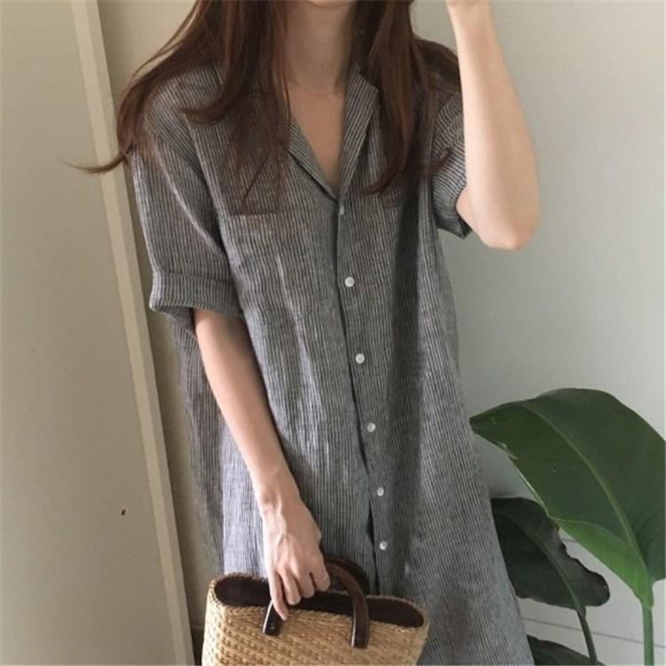 韩版条纹短袖衬衣女夏超长款过膝宽松中长款亚潮大款潮料衬衫裙