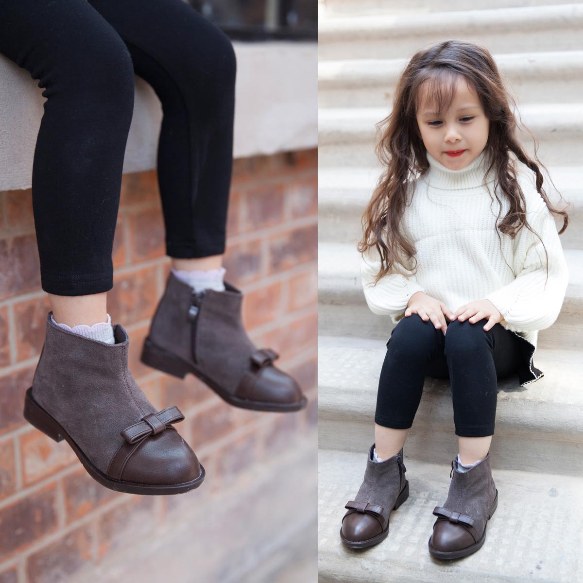 女童短靴18年冬季新款儿童靴子潮款蝴蝶结公主短靴时尚女孩马丁靴