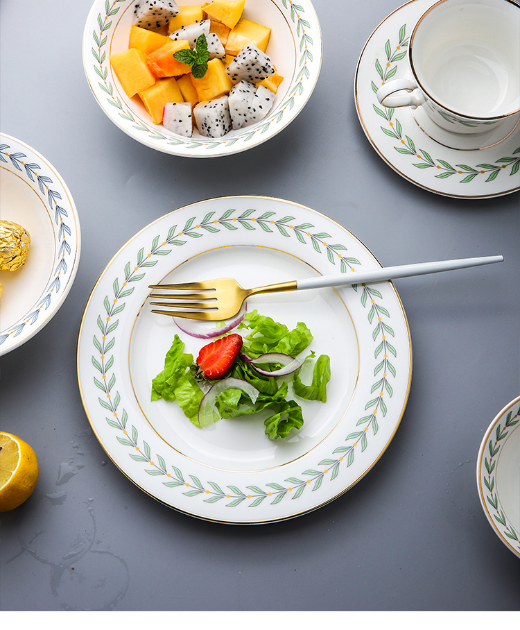 Ins small and pure and fresh leaves of up phnom penh ceramic plate plate breakfast tray was dessert dishes beefsteak plate of food