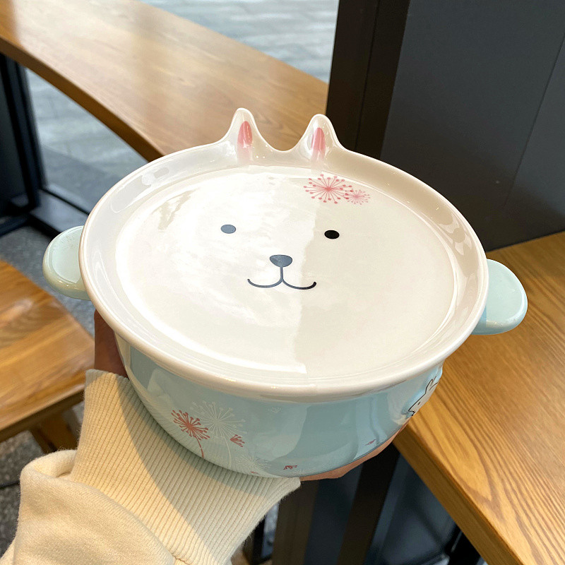 Mercifully rainbow such use ears ceramic bowl with cover and lovely young girl heart female student dormitory in the microwave bowl of soup bowl