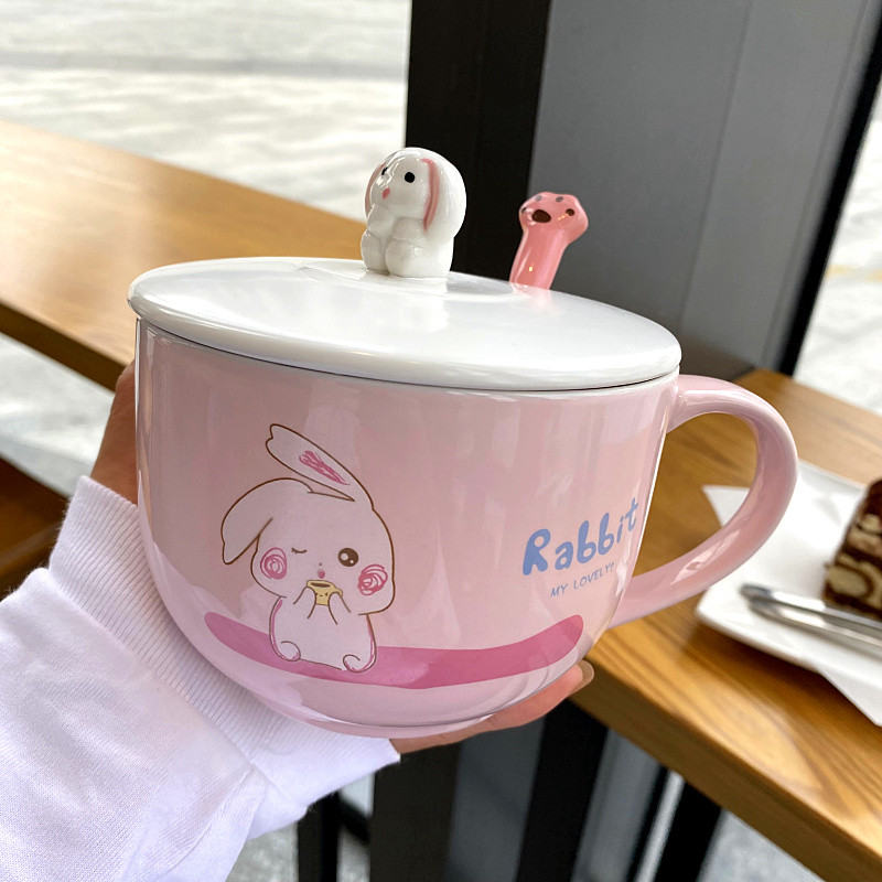 Korean high - capacity mark cup with cover teaspoons of express girls office ceramic cups of oatmeal for breakfast milk cup