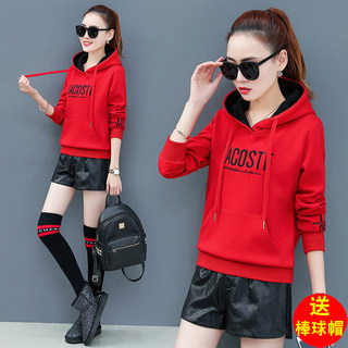 Red sweater women plus velvet thickening 2021 new spring and autumn hooded pullover short casual high-end loose large size