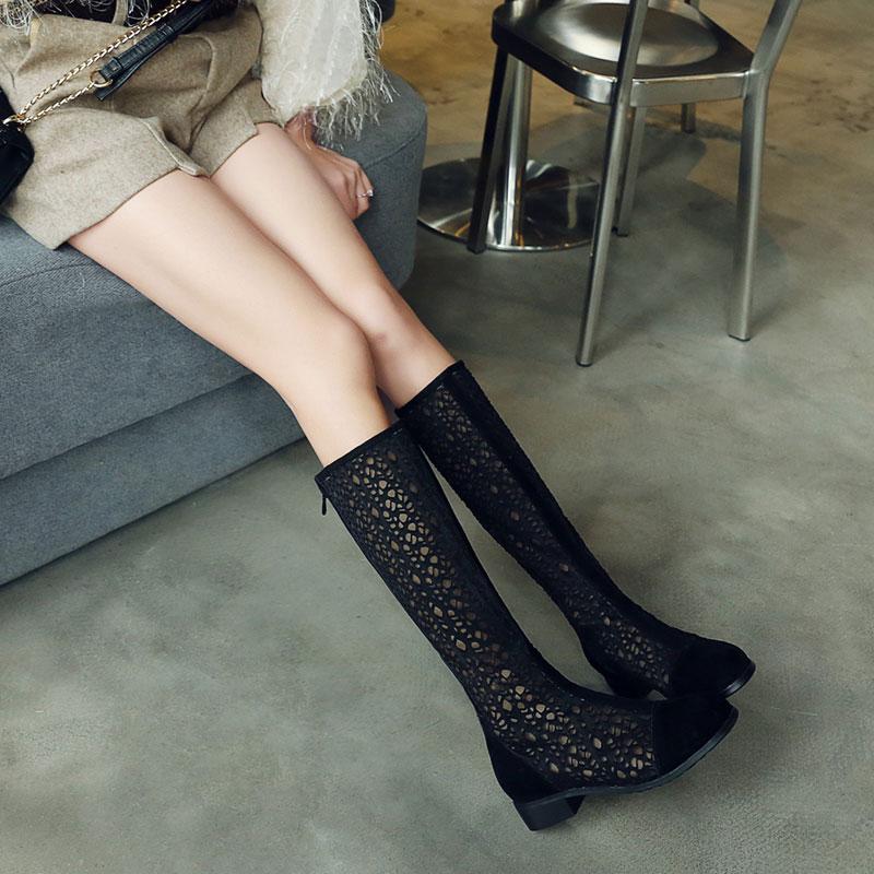 2019春季新款镂空透气网靴百搭高筒黑色靴低跟夏季女靴大码40-43