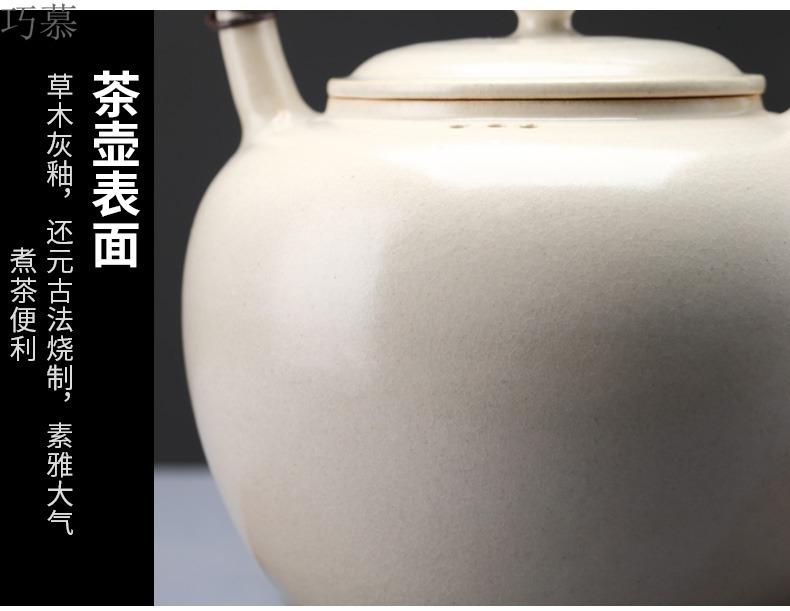 Qiao mu boiling pot of jingdezhen ceramic household kettle single gray clay pot regimen pot pot TaoMingTang vegetation
