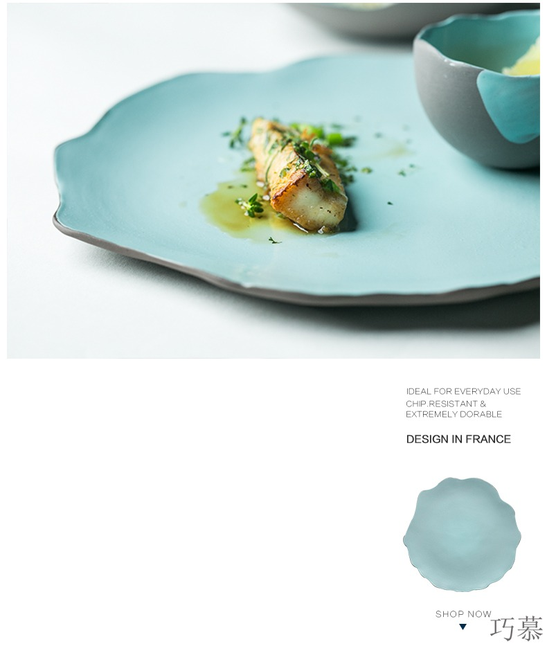 Qiao mu Japanese dinner plate sushi plate of irregular lace ceramic pasta all the dish dish dish