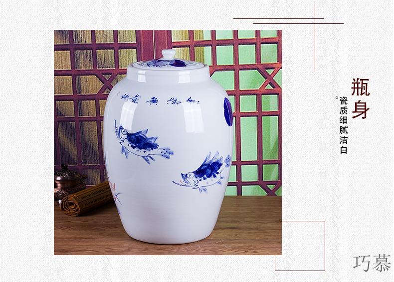 Qiao mu jingdezhen hand - made ceramic barrel 50 kg household 100 jins piggy bank kimchi cylinder packaging jars