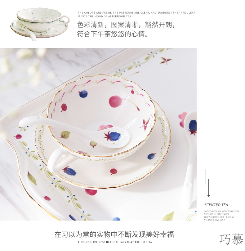 Qiao mu coffee cup suit small European - style key-2 luxury creative contracted ceramic English afternoon tea cup set tea service
