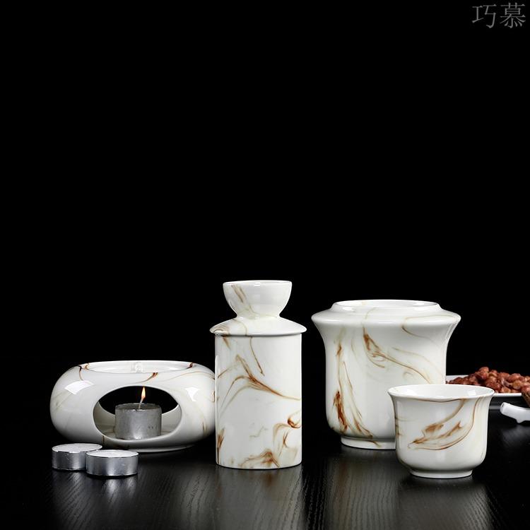 Qiao mu ceramic Chinese half jins of warm wine liquor cup hot hip home cooking wine warm hip flask temperature wine pot hot wine