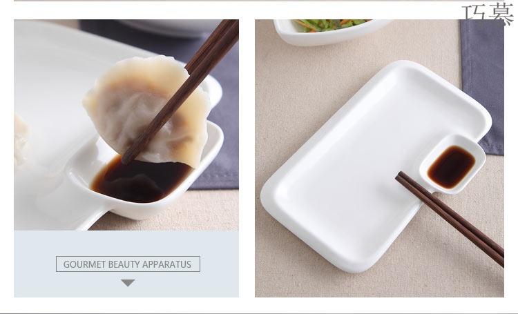 Qiao mu dumpling dish creative pure white ceramic plate snack dish fish sauce, household tableware with Japanese adults