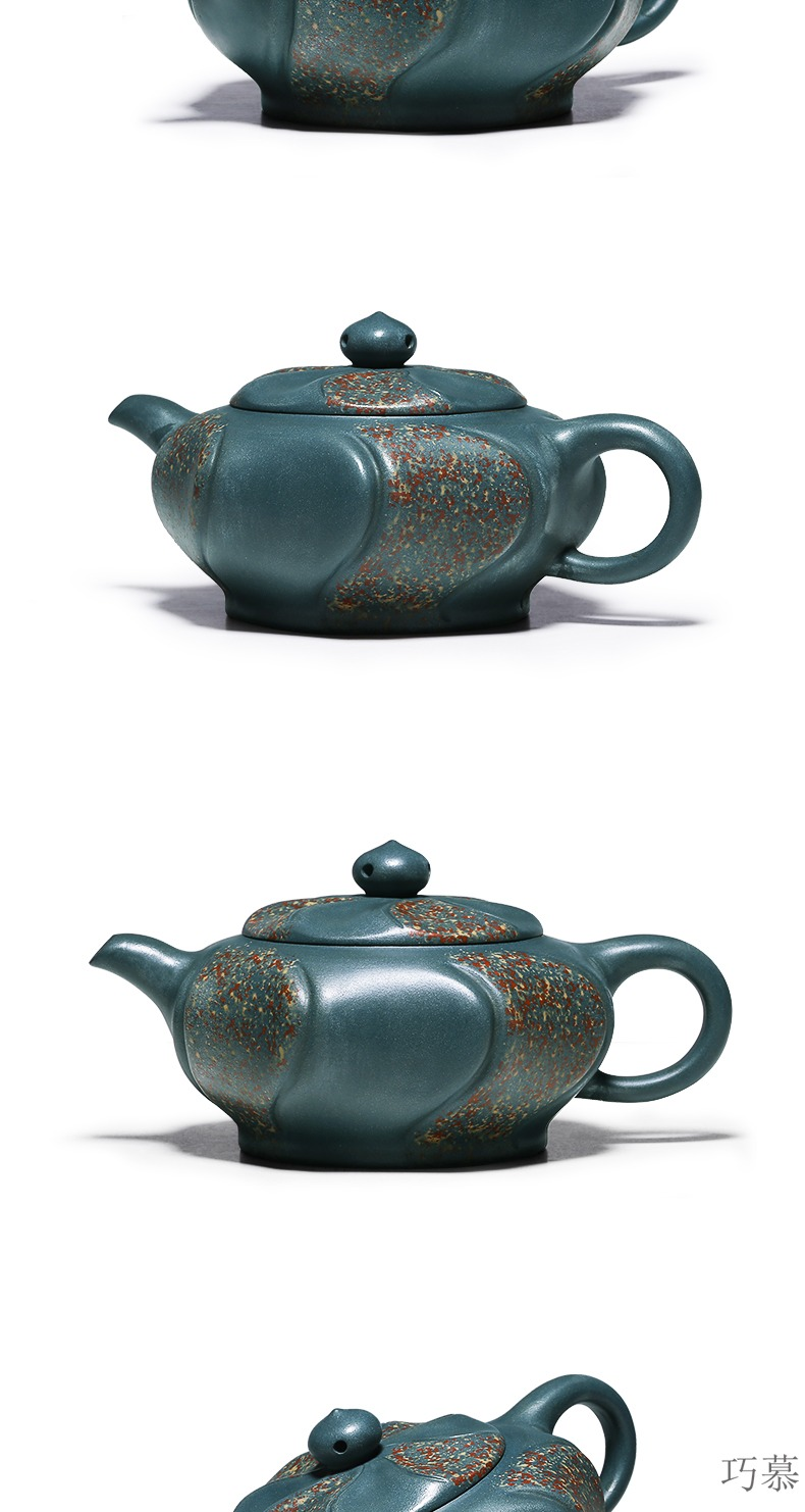 Qiao mu HM 【 】 famous yixing it pure manual undressed ore green dot color eight side of the republic of China and exquisite teapot tea