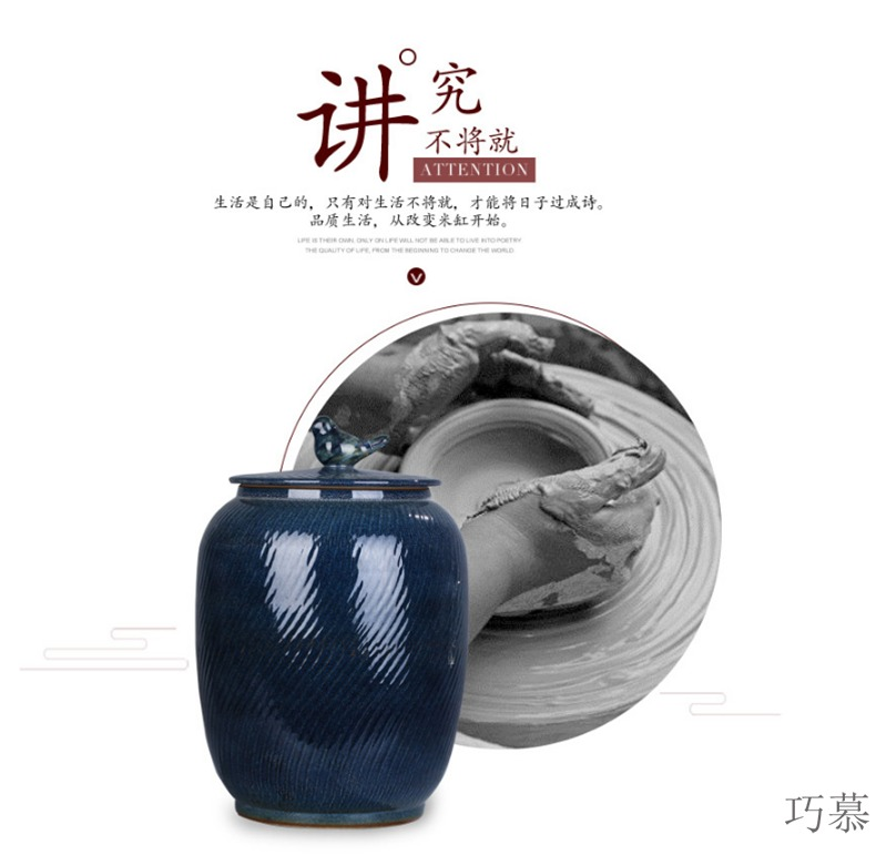 Qiao mu ceramic ricer box meter box 20 jins home storage 15 pounds with cover porcelain face barrel barrel