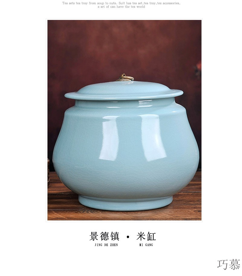 Qiao MuJinFan jingdezhen with cover household ceramics ricer box barrel 2 meters caddy fixings cylinder tank storage kimchi cylinder