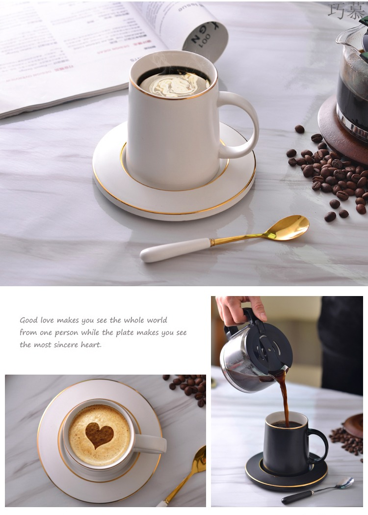 Qiao mu northern wind large capacity keller with spoon, ceramic tea cup coffee cup set office picking cups