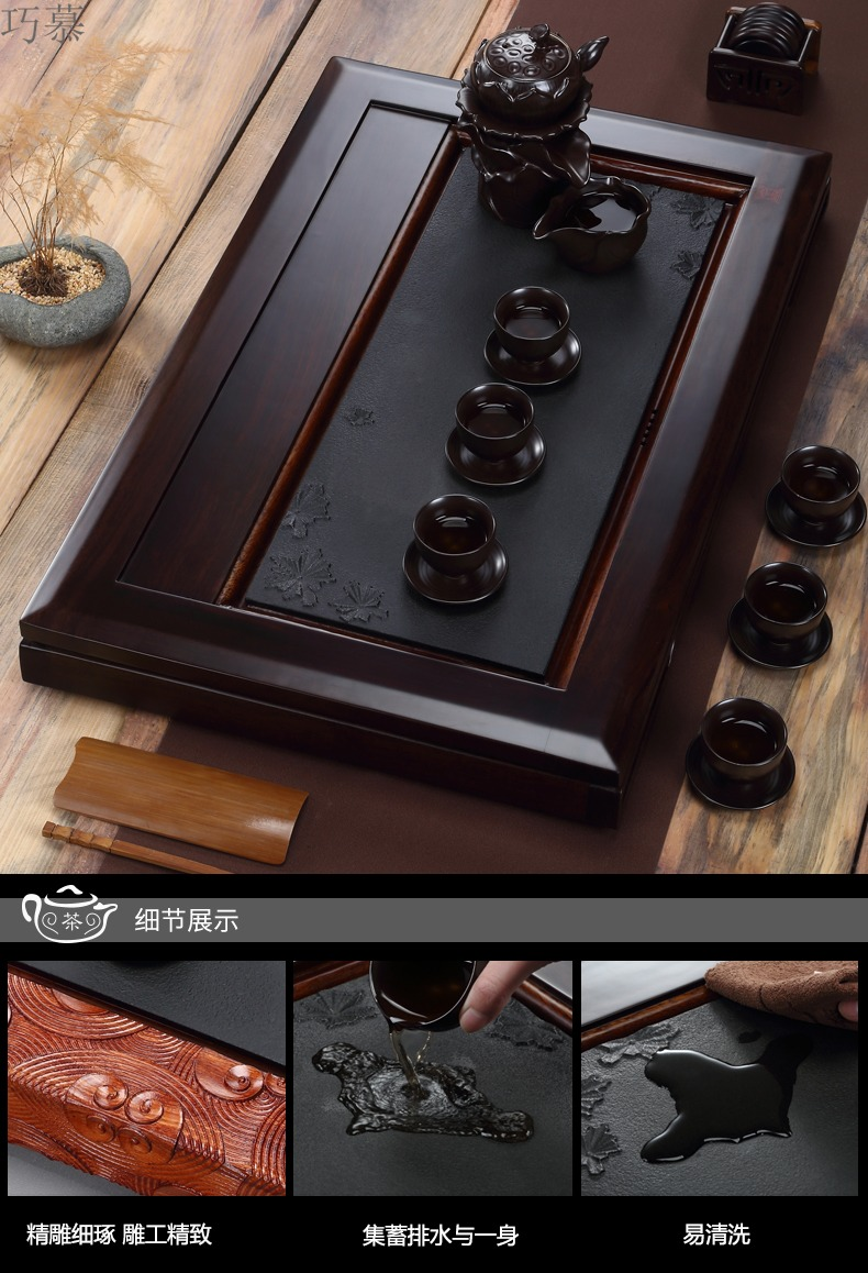 Longed for home opportunely purple sand tea sets tea of a complete set of real wood ebony kung fu tea tray is contracted tea tea table