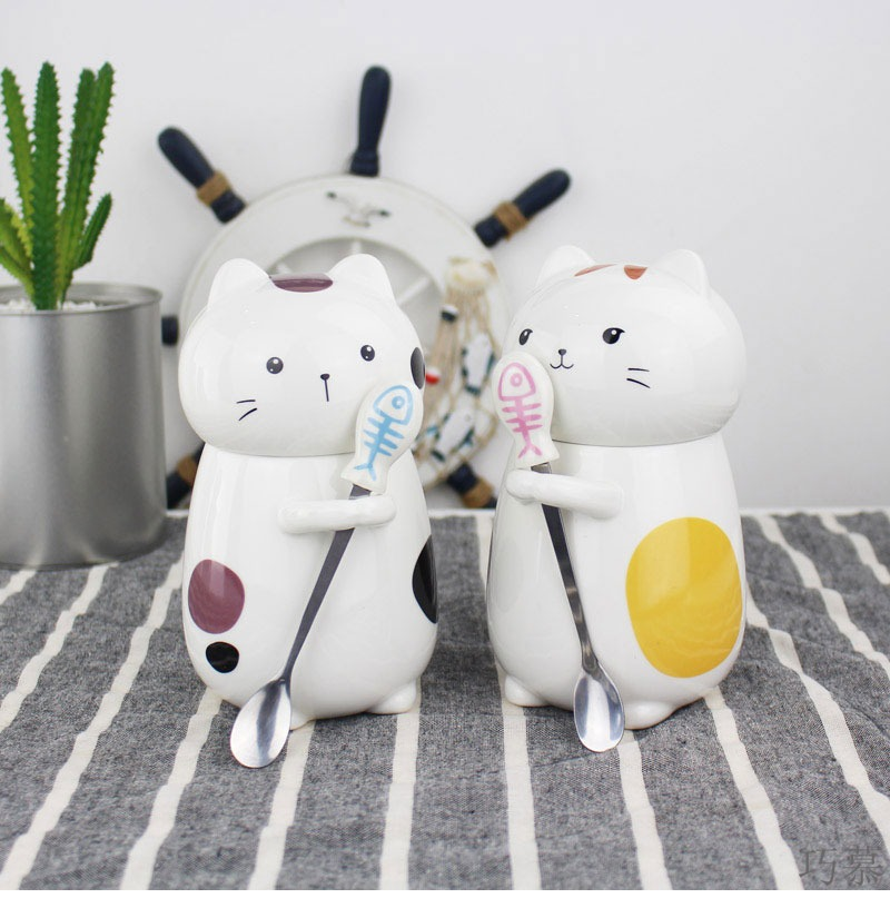 Qiao mu lovers cup a pair of express cat cartoon creative ceramic cup water mass with cover spoon coffee cup