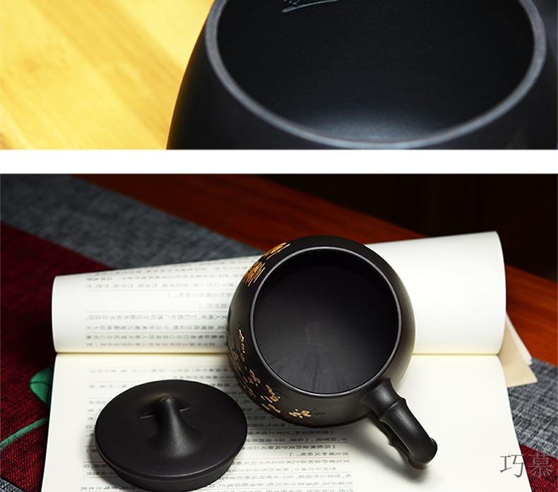 Yixing purple sand cup lid for QD office opportunely hand draw a bunch of flower tea cups ore black mud debris gourd ladle with cover cup
