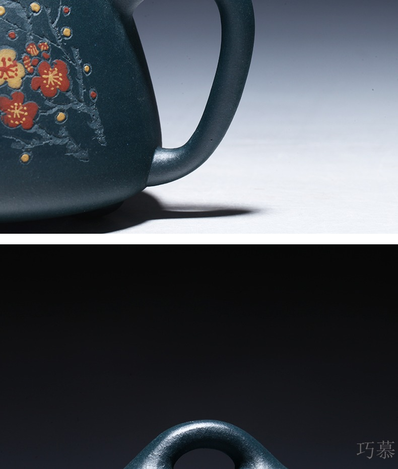 Qiao mu YM yixing undressed ore dahongpao are it by the manual collection gift teapot kaolinite with name plum blossom put