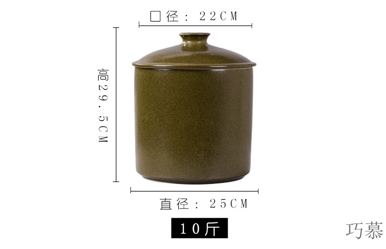 Qiao mu ceramic barrel with cover of jingdezhen household ricer box large store meter box sealed storage tank is moistureproof insect - resistant