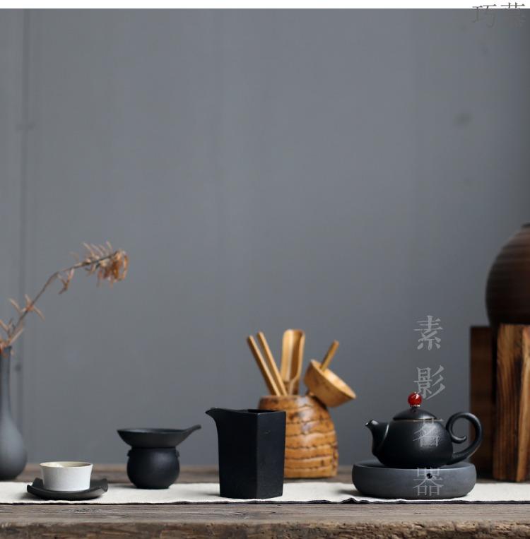 Black pottery filter ceramic) kung fu qiao mu Black zen tea filters