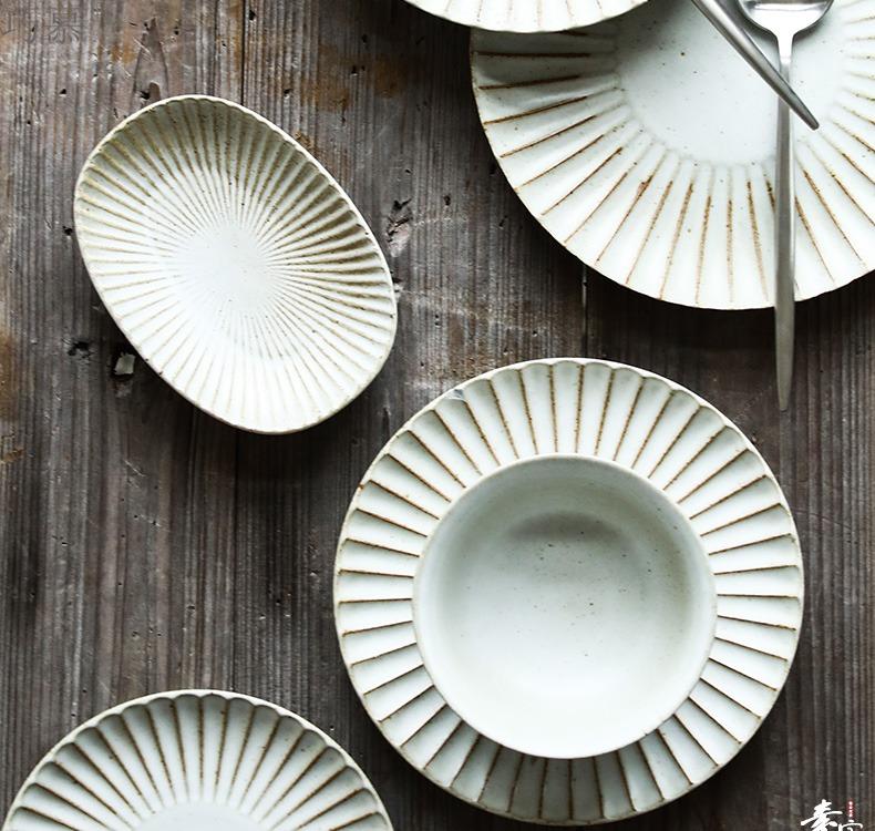 Qiao mu Japanese pure color manual clay tableware household jobs soup bowl dish dish dish soup plate fish sauce dish