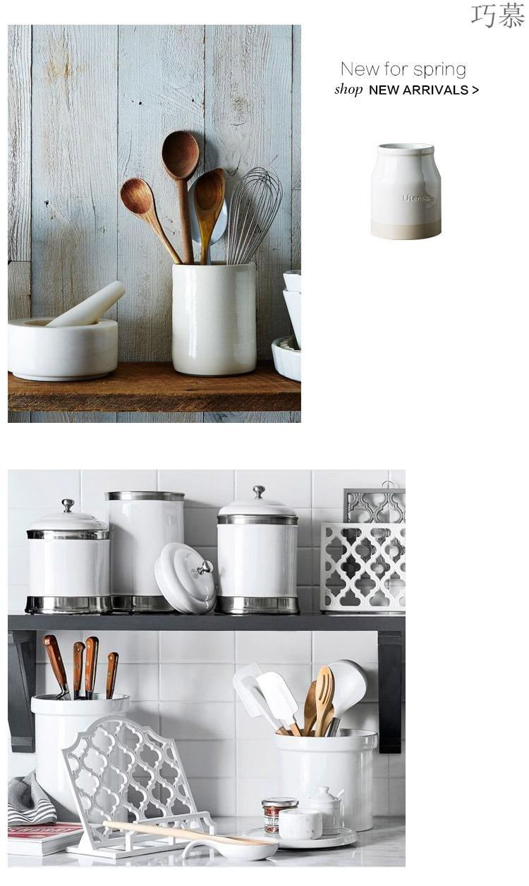 Qiao mu DY European - style ceramics receive a jar of chopsticks spoon the receive tube creative chopsticks tableware receive a kitchen store content box