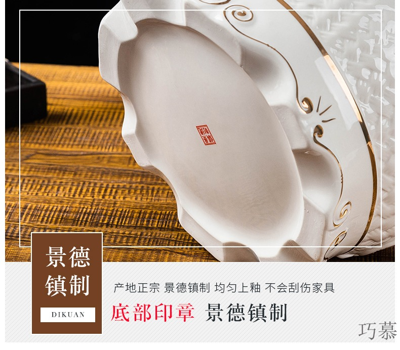 Qiao mu European ceramic barrel ricer box storage tank storage bins insect - resistant moistureproof 25 kg a barrel practical adornment pendulum