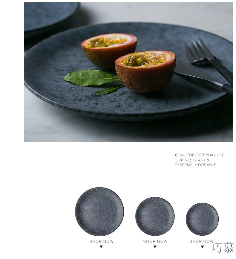Qiao mu continental plate creative contracted breakfast steak circular disc ceramic plate plate plate of household food dish
