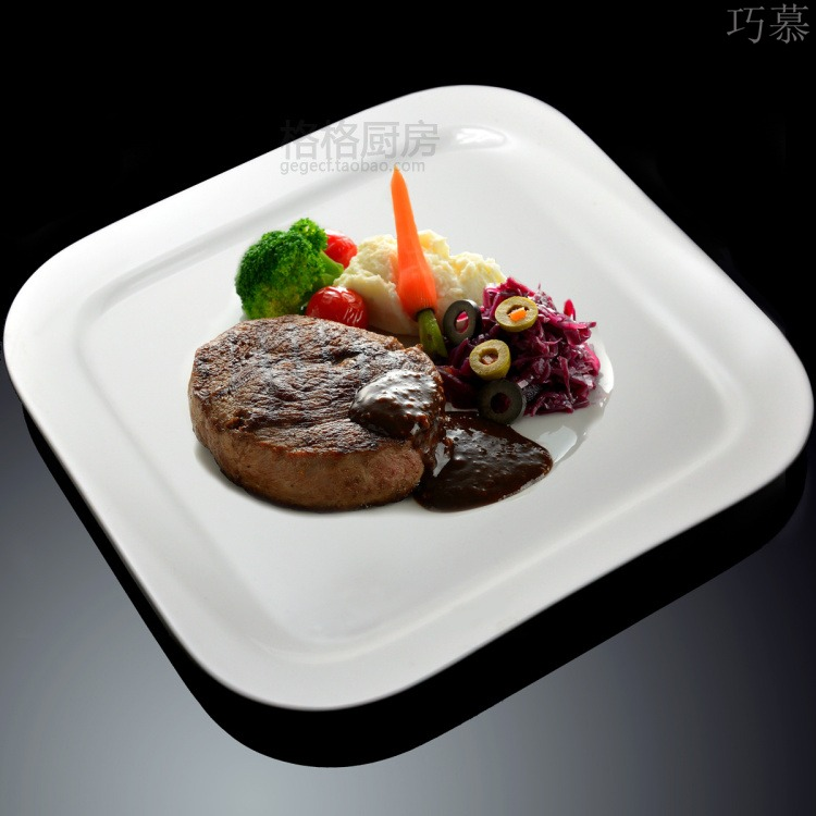 Qiao mu heavy pure white ceramic side dish western dishes square plate continental food steak