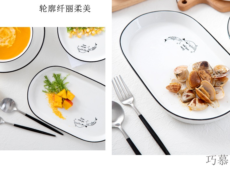 Qiao mu WLS dishes suit household 2/4 people Japanese - style tableware suit Nordic ins ceramic bowl bowl of soup bowl to eat