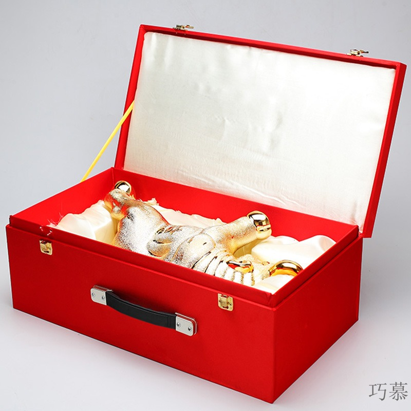 Qiao mu empty bottles of pottery and porcelain decorative furnishing articles flask 5 jins of 5 jins of bottle wine jar with gift box in the bullfight