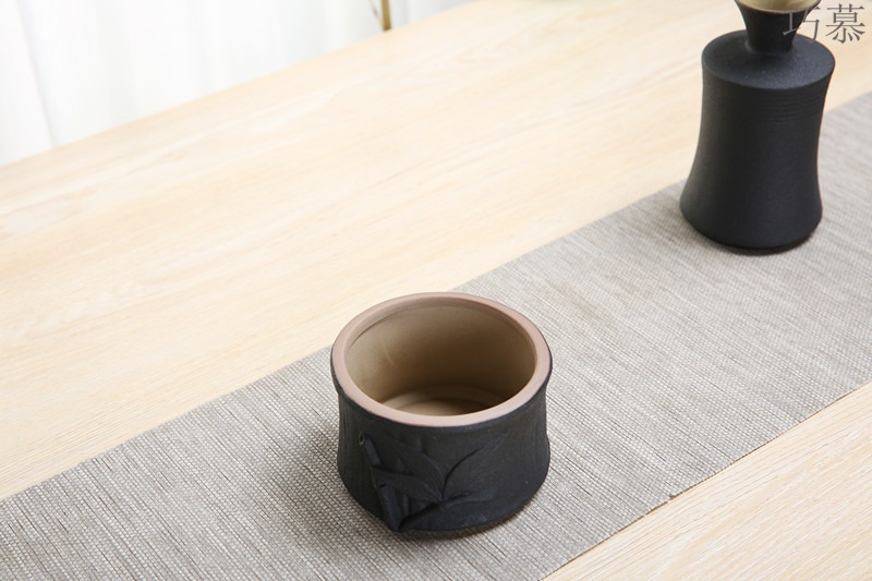 Qiao mu ceramic temperature wine pot black he its drank wine suits for coarse pottery wine glass with points a small handleless wine cup small household porcelain