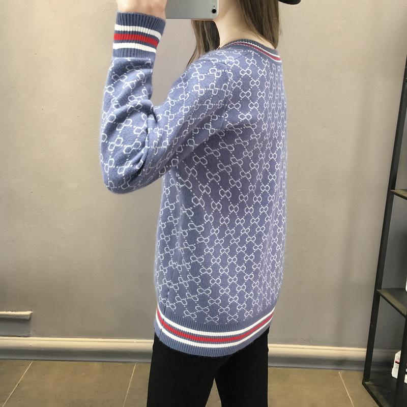 针织开衫外套女2021春装新款韩版百搭宽松单排扣V领外搭爆款毛衣详细照片
