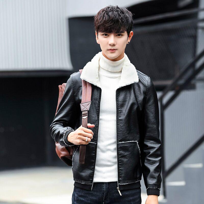 【君齐】冬季加绒保暖修身男士皮衣