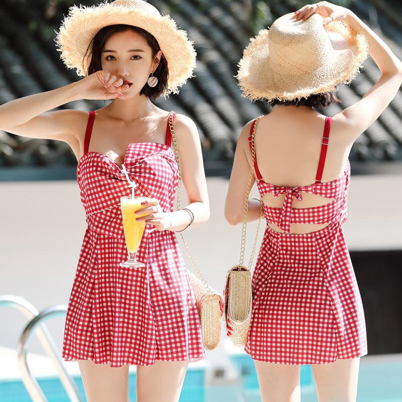 韩国ins风超仙分体裙式泳衣女小胸聚拢保守遮肚显瘦仙女范游泳装
