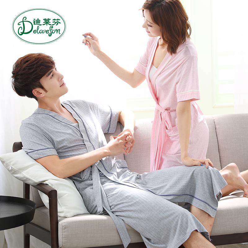 2fc61281bc Men s bathrobe summer thin section couple short-sleeved nightgown female  summer sexy cute Japanese long