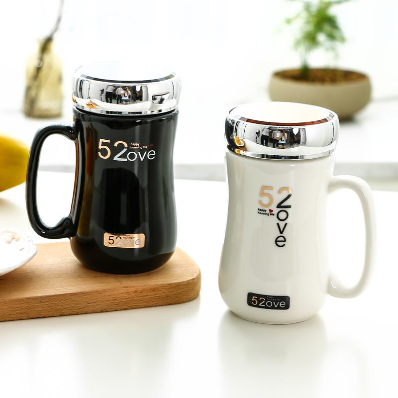 情侣杯子一对创意简约大容量早餐陶瓷杯咖啡牛奶杯马克杯带盖水杯