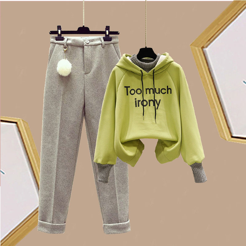 Autumn and winter plus-thick set schoolgirl Korean version loose fake two-piece security dress slim casual fur pants two-piece set 46 Online shopping Bangladesh