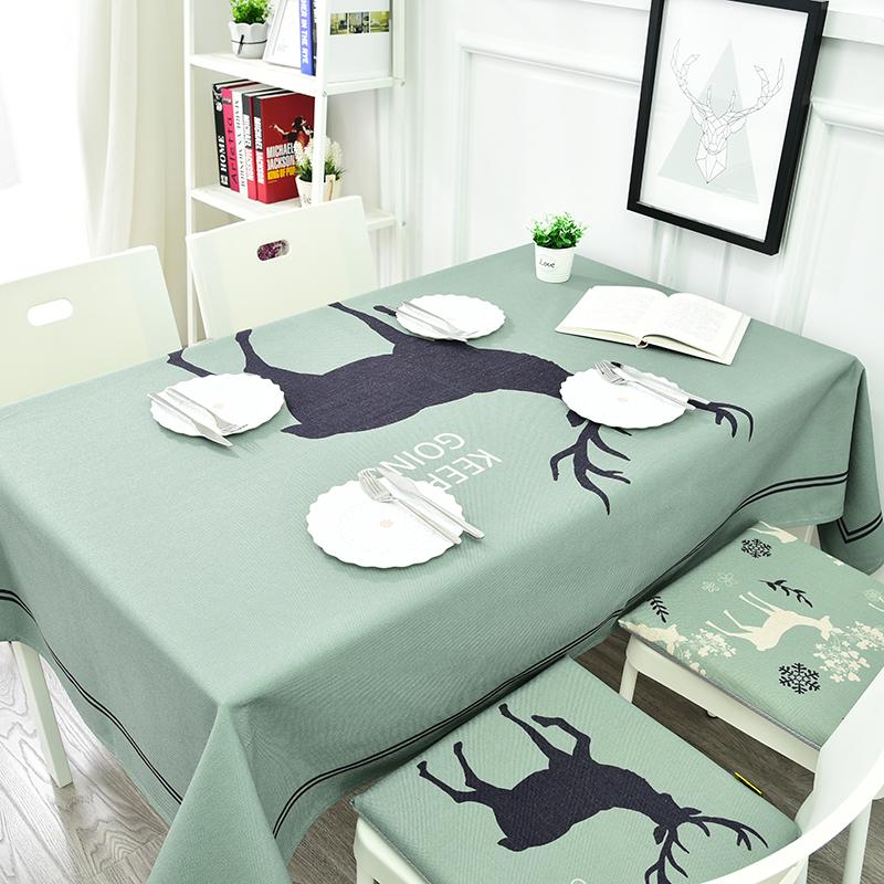 桌布布艺棉麻北欧麋鹿餐厅创意台布客厅方桌长方形茶几圆桌布盖布_领取20元天猫超市优惠券