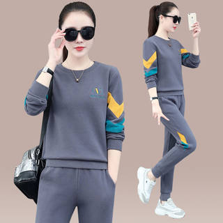 Two-piece suit casual sports suit spring and autumn new Korean version of the loose sweater 洋 running two-piece tide