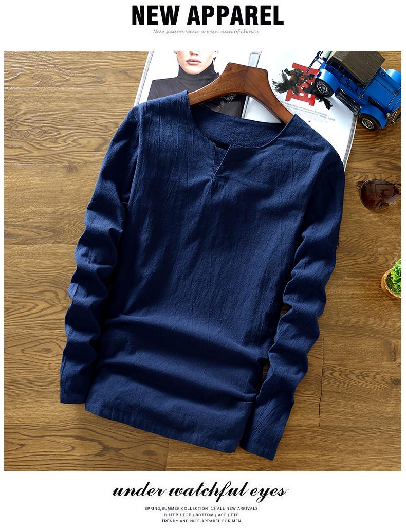 Của nam giới XL Trung Quốc phong cách của nam giới linen chất liệu new T-Shirt retro quần áo cotton linen dài tay màu rắn t 桖 áo phông rộng nam