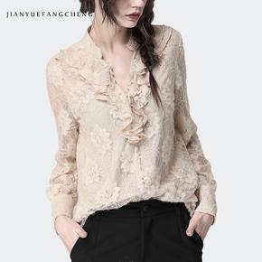 Блузки,  2019 весна тонкий кружево рубашка куртка женщина с длинными рукавами рубашка свитер накройте живот сын западный стиль рубашка европа товары маленькая рубашка, цена 2291 руб