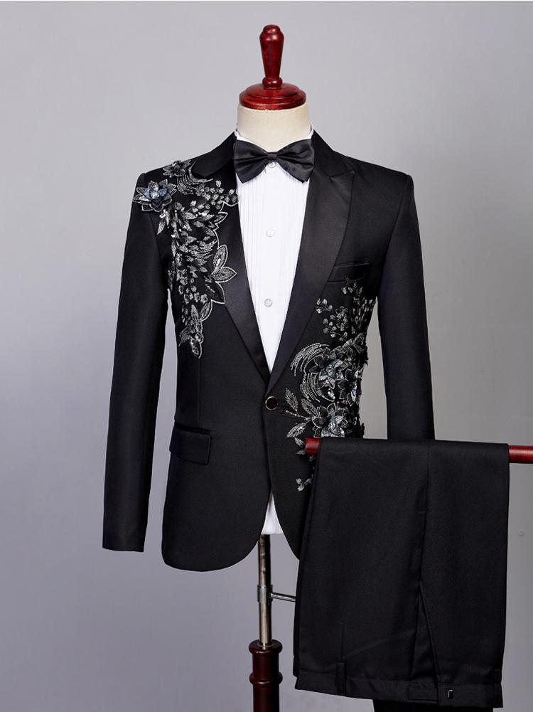 14080b51589a 2019 Chorus Groom Sequin Suits For Men Blazer Boys Prom Mariage ...