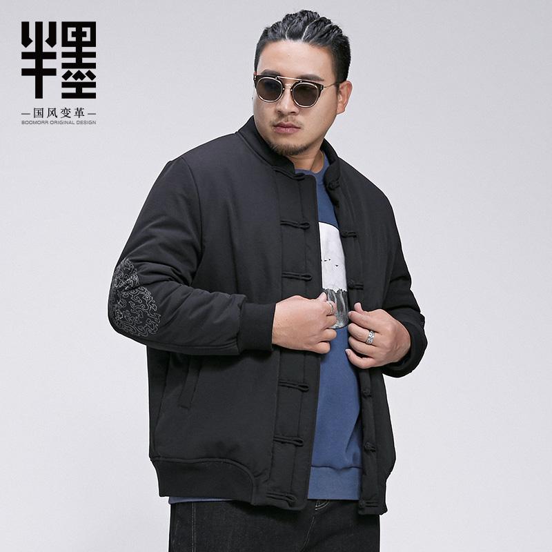 Một nửa mực cộng với size áo cotton nam phong cách Trung Quốc cộng với phân bón để tăng cổ áo ngắn đoạn dày thêu áo bông dày thủy triều - Bông