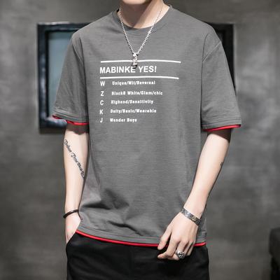 短袖男夏季韩版潮流男士帅气T恤圆领宽松体恤男生烫染半袖上衣服