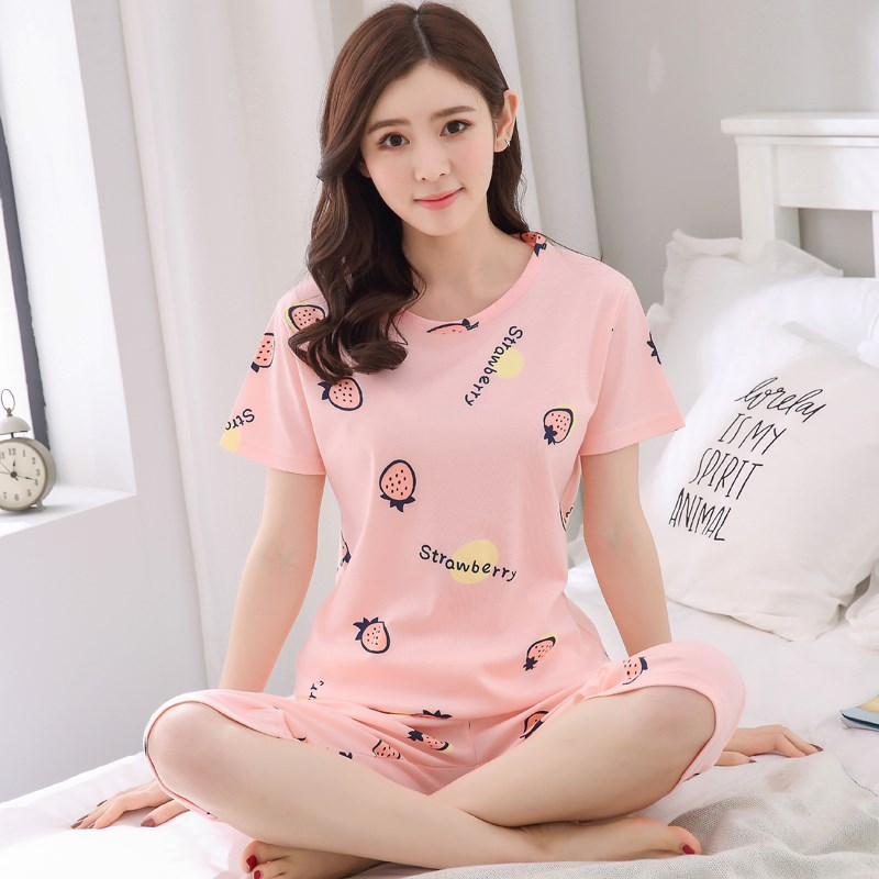 ✅7 pants pajamas women summer cotton ladies thin section short-sleeved pants summer two-piece suit home service