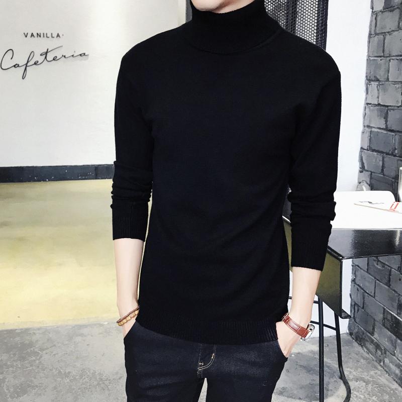 长袖修身毛衣紧身男士加厚加绒针织衫打底高领韩版纯色衫冬季黑